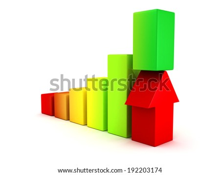 3D Bar Chart and Business Growth With Rising Arrow. Success Achivement Concept 3d Render Illustration