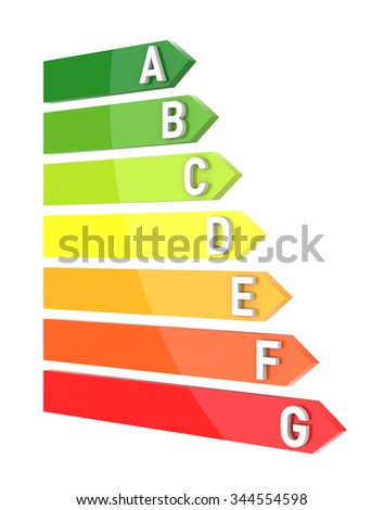 3D Bar Graph, Energy Efficiency Concept, Isolated on White Background