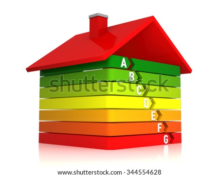 3D Bar Graph Home, Energy Efficiency Concept, Isolated on White Background - stock photo