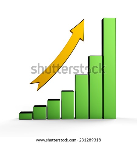 3d bar graph with metallic green columns and yellow arrow. - stock photo