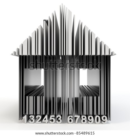 3d barcode house concept on white background