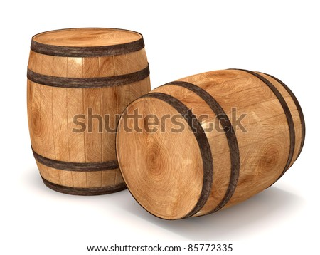 3d Barrels on white background - stock photo
