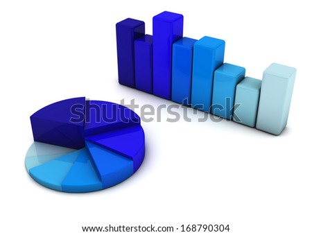 3d Bars Graph and circle in blue