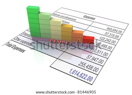3d bars showing decrease in profit due to expenses - stock photo