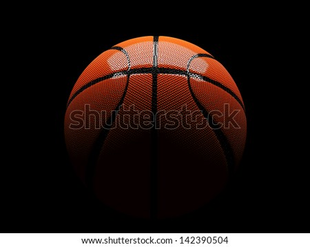 3d basket ball in between light and shadow have reflections, isolated clipping paths include - stock photo