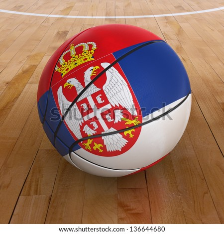 3D basket ball with Serbia flag on basketball court. - stock photo