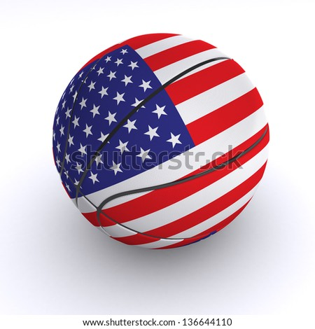 3D basket ball with USA flag on white. - stock photo