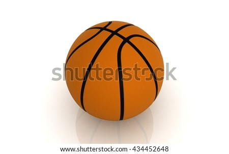 3D Basketball ball on white background - stock photo
