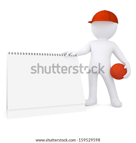 3d basketball player with the calendar. Isolated render on a white background