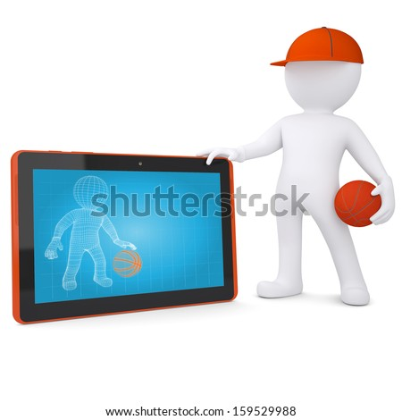 3d basketball player with the tablet PC. Isolated render on a white background - stock photo