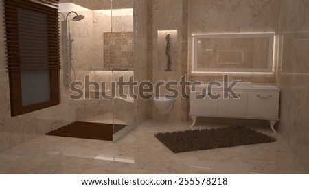 3D bathroom design  - stock photo