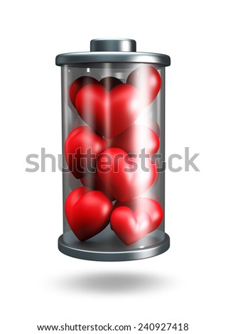 3D Battery icon Full Power of love energy, object isolated - stock photo