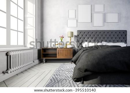 3d beautiful bedroom interior render - stock photo