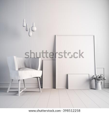 3d beautiful white interior render - stock photo