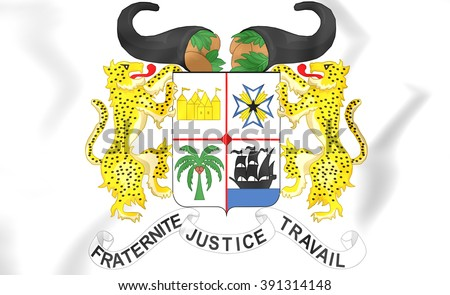 3D Benin Coat of Arms. Close Up.    - stock photo