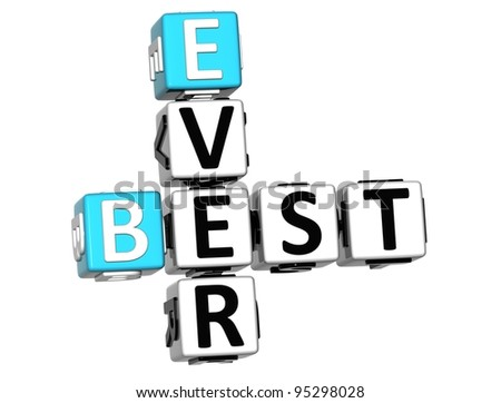 3D Best Ever Crossword on white background - stock photo