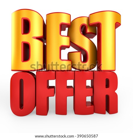 3D best offer word on white isolated background