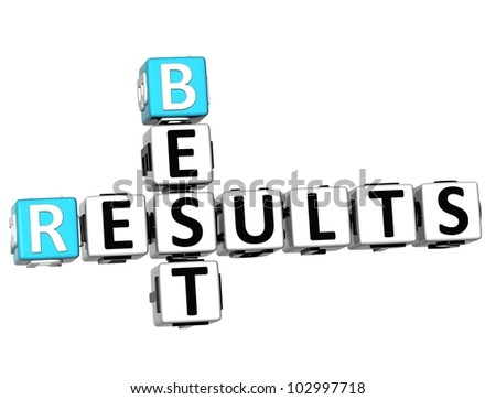 3D Best Results Crossword on white background - stock photo