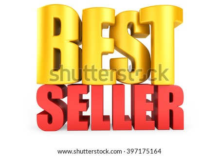 3D best seller word on white isolated background - stock photo