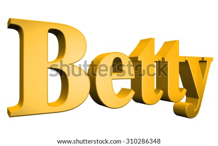 3D Betty text on white background