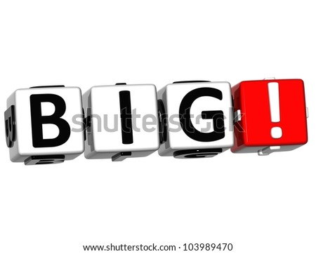 3D Big Button Click Here Block Text over white background - stock photo