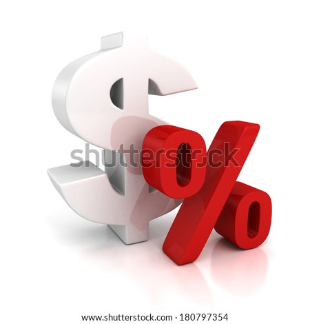 3d big dollar currency symbol and red percent sign. Finance rate concept 3d letters on white with reflection - stock photo