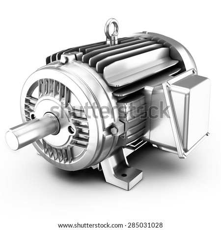 3d big electric motor on white background - stock photo