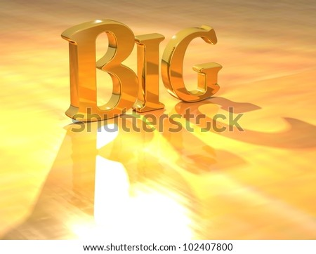 3D Big Gold text over yellow background - stock photo