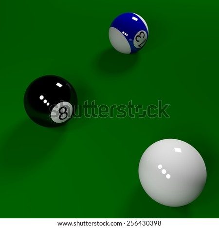 3D Billiard balls on the green table