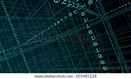 3D Binary code - big data and programing concept - stock photo