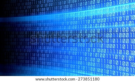 3D. Binary Code, Digital Display, Coding. - stock photo