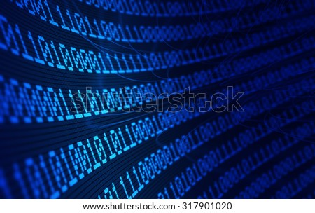 3D Binary code forming a network - stock photo