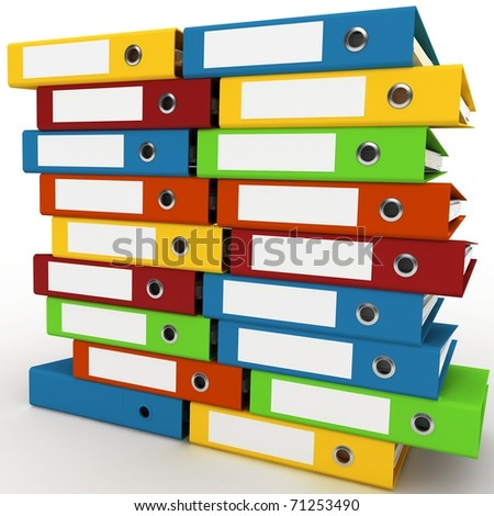 3d binders stacked with blank labels isolated on white