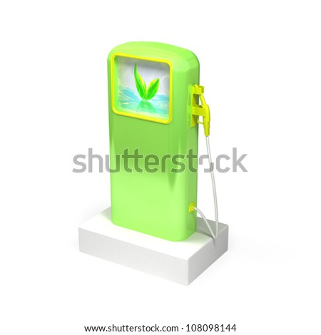 3d biofuel station on a white background - stock photo