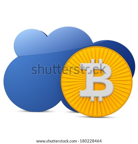 3d bitcoin with the cloud  on white background - stock photo