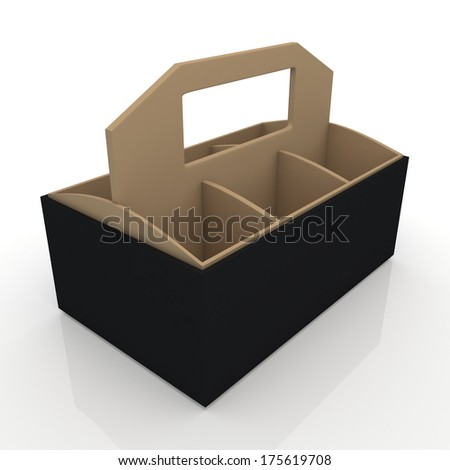 3d black and original brown beverage bottles box and partition packaging hexagon box and lids for blank template products in isolated background with clipping paths, work paths included  - stock photo