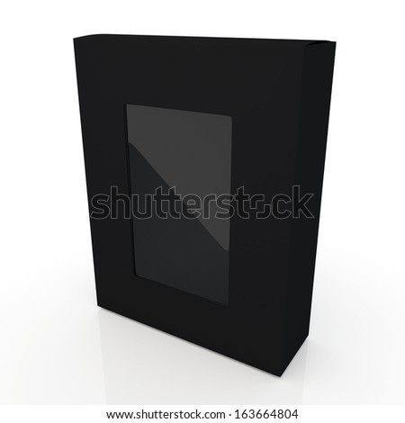 3d black and transparent boxes flip cap packaging products blank template and cut off attach PVC for show option in isolated and reflection background with work paths, clipping paths included  - stock photo