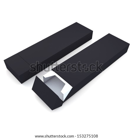 3d black and white pencils packaging, pens, chocolate, carton box and packaging blank template in isolated with clipping paths, work paths included  - stock photo
