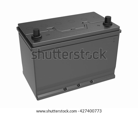 3D black battery on white