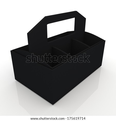 3d black beverage bottles box and partition packaging hexagon box and lids for blank template products in isolated background with clipping paths, work paths included  - stock photo