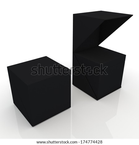 3d black box open ready 2 pieces packaging blank template in isolated with clipping paths, work paths included  - stock photo