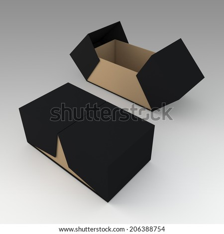 3D black & brown products packaging container box and open by swing lids option in isolated background with work paths, clipping paths included  - stock photo