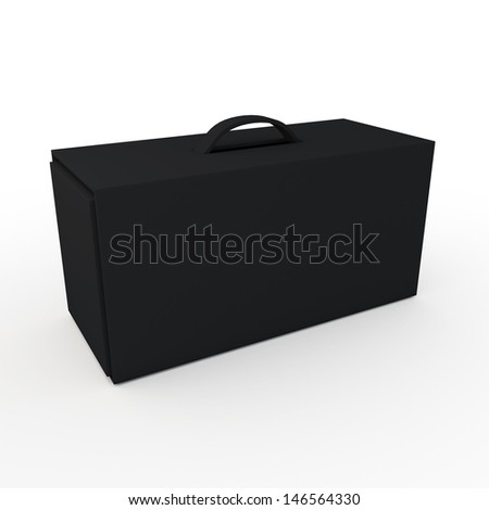3d black carton packaging box for heavy products with handle in isolated background with clipping paths, work paths included  - stock photo