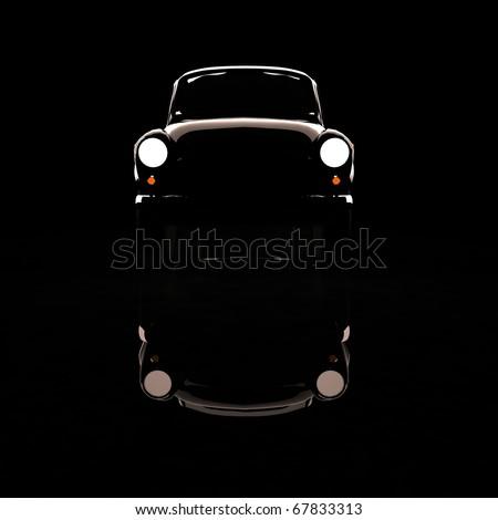 3D Black Classic Car - stock photo