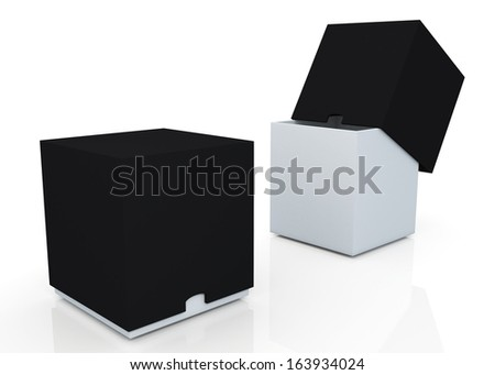3d black & clean white boxes with cover  products container blank template and rim cut function pick option for useful core slide in isolated background with work paths, clipping paths included  - stock photo