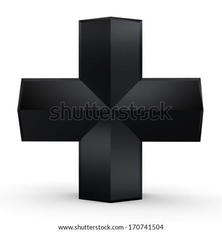 3d Black Cross - stock photo
