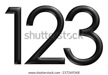 3d black 123 digit numbers on isolated white background. - stock photo