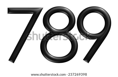 3d black 789 digit numbers on isolated white background. - stock photo