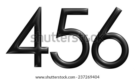 3d black 456 digit numbers on isolated white background. - stock photo