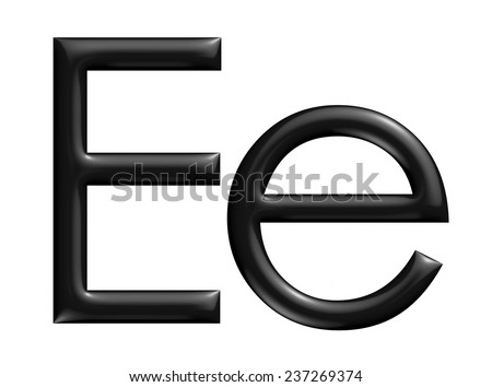 3d black E Alphabet in big and small on isolated white background. - stock photo